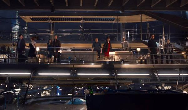 The Avengers turn to stare at their uninvited guest in 2015's AVENGERS: AGE OF ULTRON.