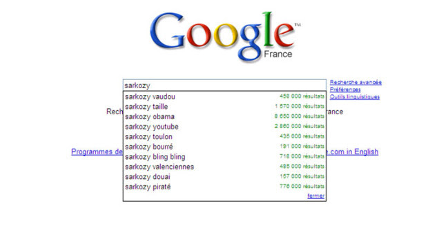 Google suggest pas tendre avec Nicolas Sarkozy