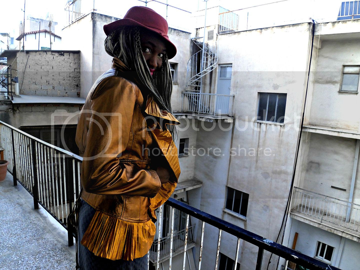 Wide Brim Hat and Gold Leather Jacket.jpg