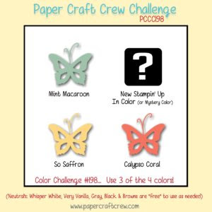 Welcome to the Paper Craft Crew Color Challenge 198. Play along at www.papercraftcrew.com #papercraftcrew #colorchallenge