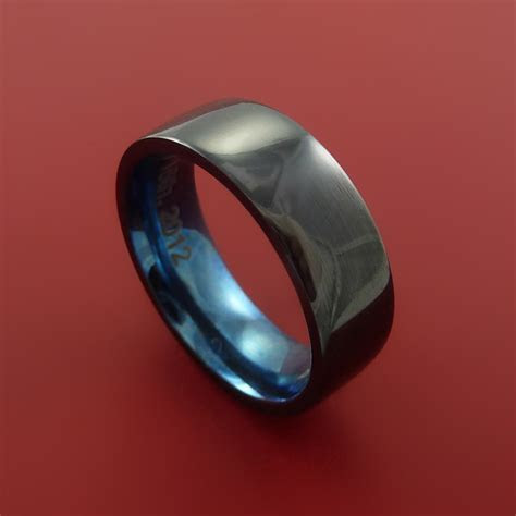 Black Zirconium Ring Traditional Style Band with Blue