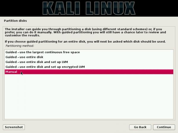 Kali Linux Debian Installer