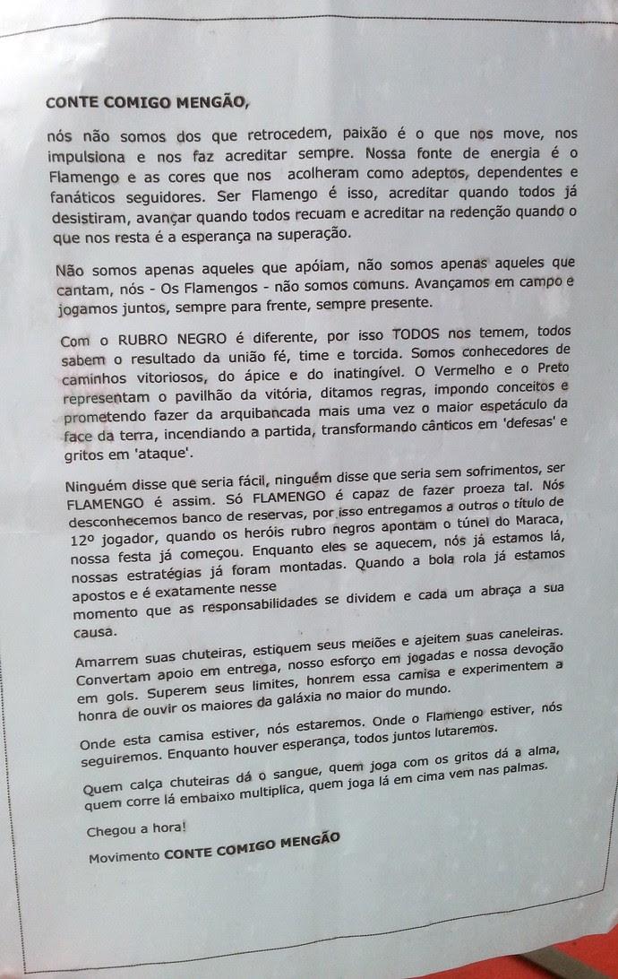 torcida carta para jogadores flamengo (Foto: Thales Soares)