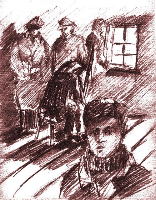 Kobieta siedziała na stołku, ale mimo przebrania poznałem ją, to była moja sąsiadka. Przed nią przechadzał się major, a pod ścianą na ławce siedziało kilku oficerów i żołnierzy. Rysunek Adam Kubka