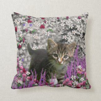 Emma in Flowers I – Little Gray Kitten Pillow