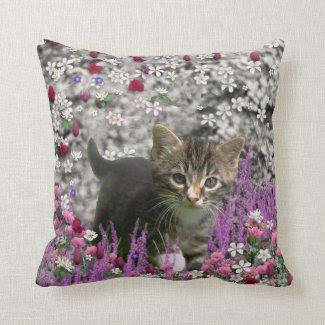 Emma in Flowers I – Little Gray Kitten Pillow