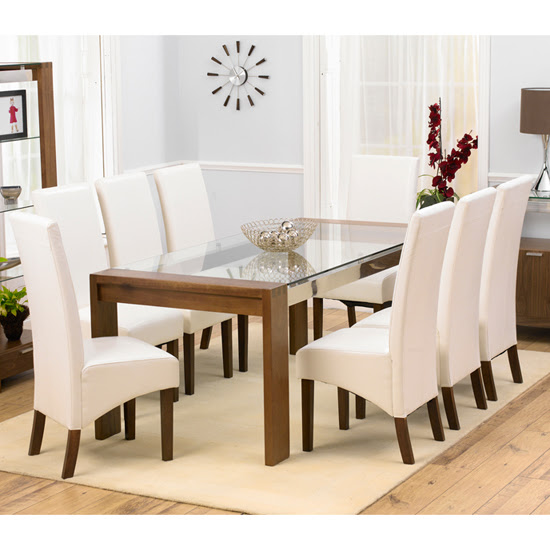Arturo Rectangle Walnut Glass Top Dining Table And 8 WNG