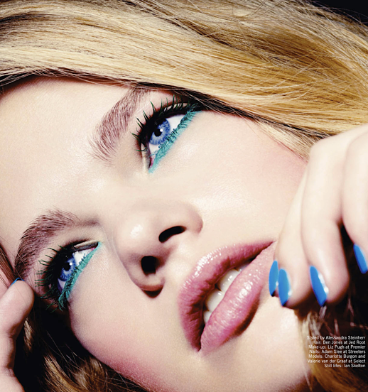 LE FASHION BLOG BEAUTY EDITORIAL GLAMOUR UK BRIGHT EYES TURQUOISE TEAL EYE LINER BLUE NAILS MANICURE 5
