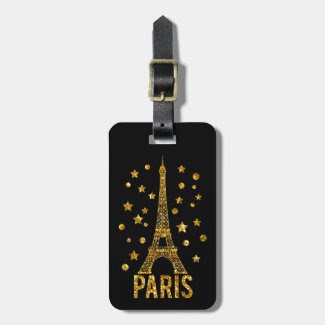 Glitter Eiffel Tower Paris Luggage Tag