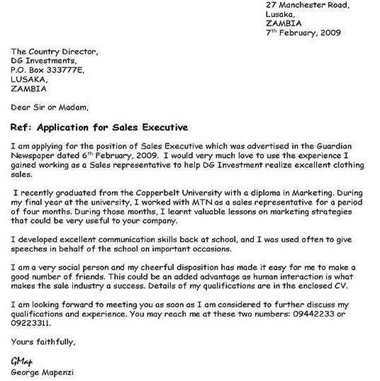 Sample Of Job Application Letter In