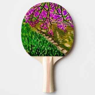 Cherry Blossom Landscape on Ping Pong Paddle