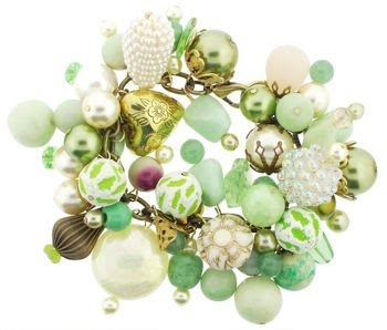 Inspiration, no tutorial. Dame Design - Brass Charm Bracelet - Kiwi Green Hues