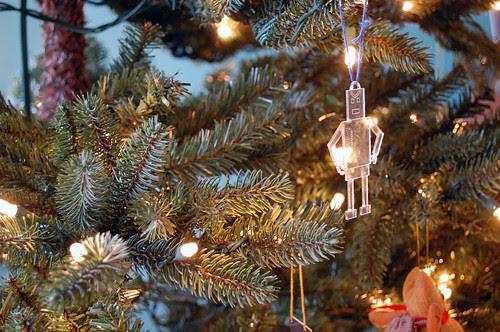 laser cut robot, christmas tree