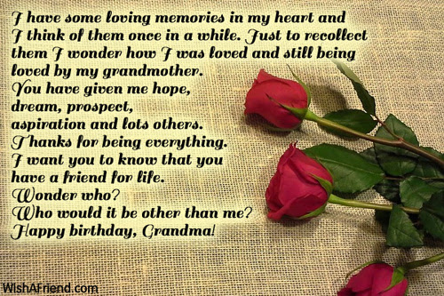 I Have Some Loving Memories In Birthday Wish For Grandmother