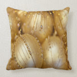 Brilliant Gold Christmas Bulbs Throw Pillow