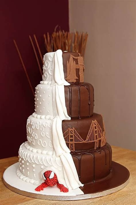 Best 25  Half and half wedding cakes ideas on Pinterest