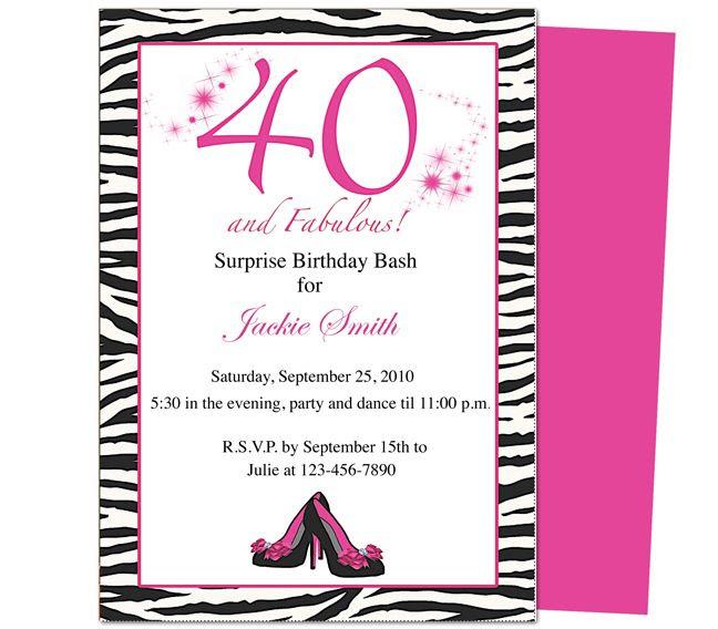 Fun Favorite Diva Womans Black 40th Birthday Party Invitations ...
