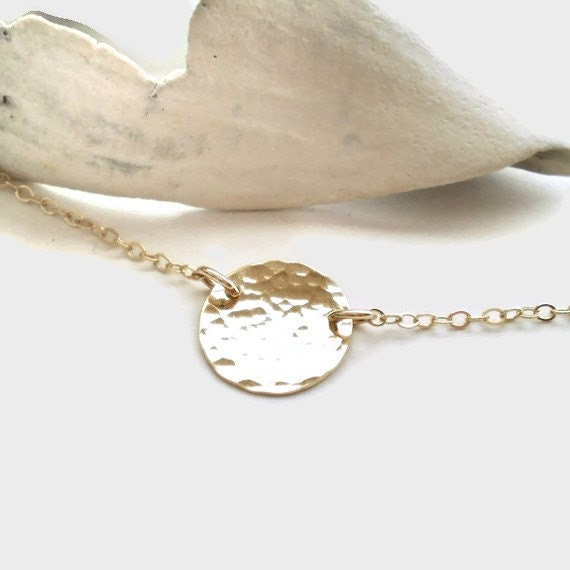 Beach Day Necklace - Simple Hammered Gold Filled Disc on Delicate Gold Filled Chain