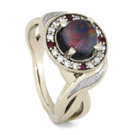 Opal Halo Engagement Ring Set With Diamond And Ruby