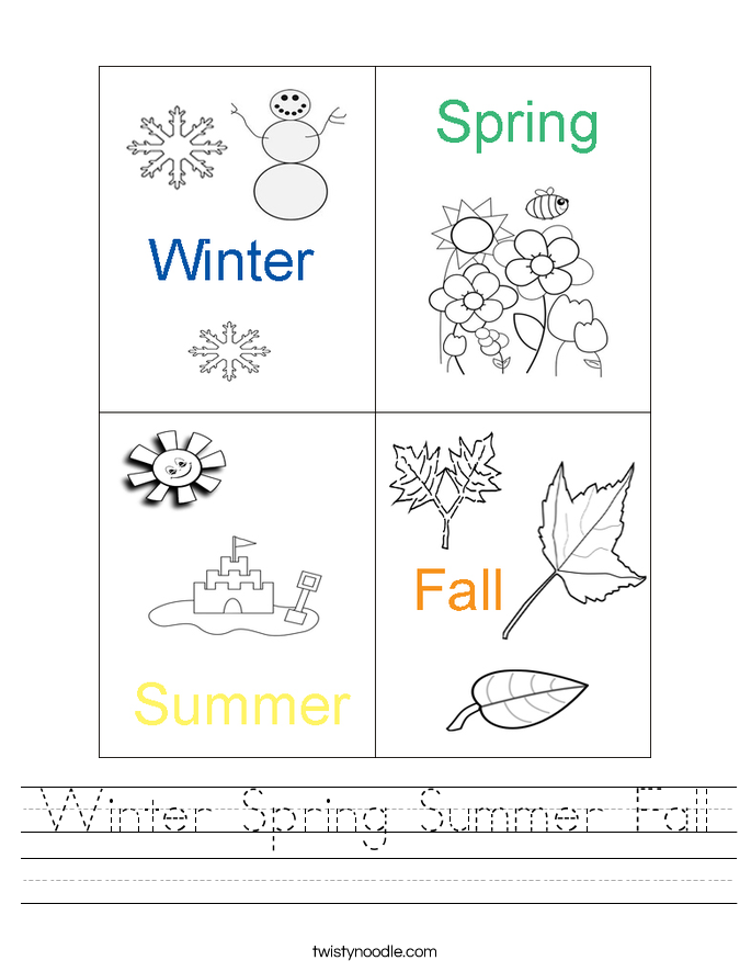 Winter Spring Summer Fall Worksheet - Twisty Noodle