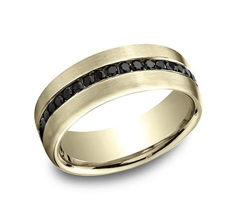 Benchmark Rings 14k White Gold Black Diamond Mens Wedding Band