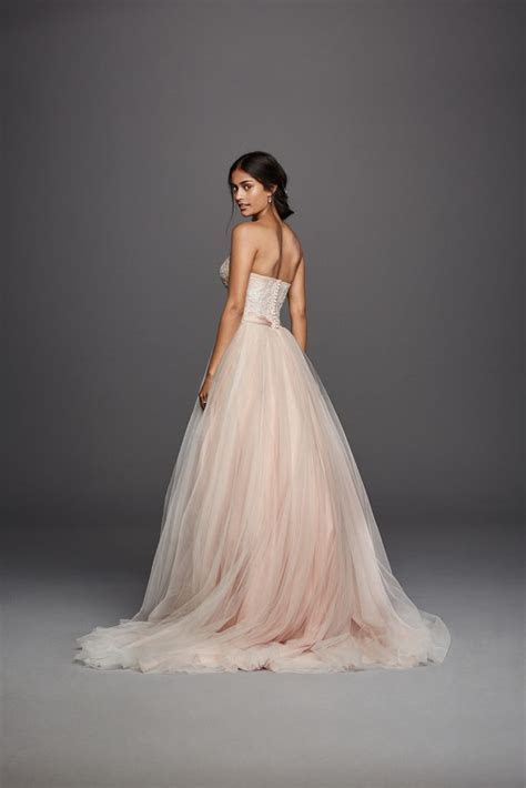 Strapless Ivory Blush Tulle Beaded Lace Ball Gown Jewel
