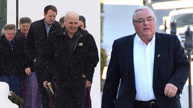 Jim Oler (front left) and Winston Blackmore (right) are currently facing a polygamy charge and are standing trial in Cranbrook Supreme Court.
