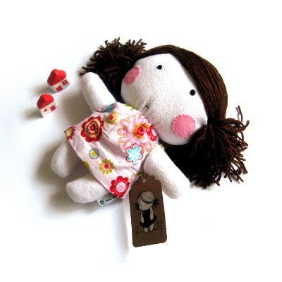 "Rag doll handmade toy stuffed toy softie softies plushie stuffed puppet baby girl kid kids white pink floral flower dress clothes 11"" - ZazoMini"