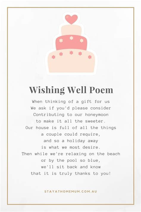 Non Cheesy Wedding Wishing Well Poems   Stay at Home Mum
