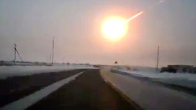 PHOTO: In this frame grab made from a video done with a dashboard camera, on a highway from Kostanai, Kazakhstan, to Chelyabinsk region, Russia, Feb. 15, 2013 a meteorite contrail is seen.