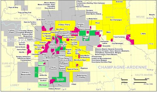 Carte des demandes de permis d'exploration d'hydrocarbures en Ile-de-France.