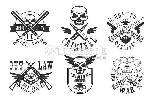 Conjunto De Vector De Emblemas Relacionados Con El Tema Penal