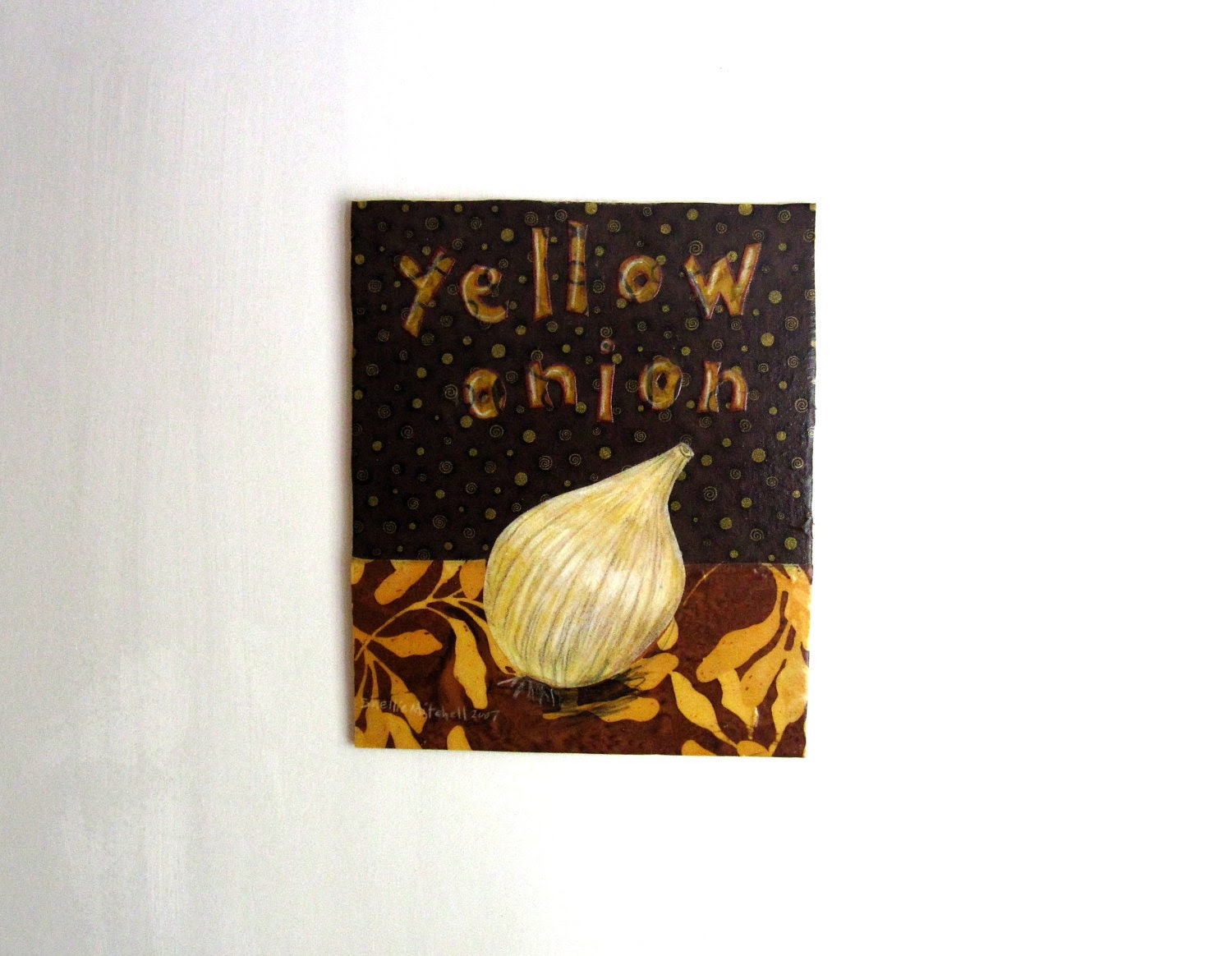 Yellow Onion - Original Fabric on Wood art, kitchen cook - shellieartist
