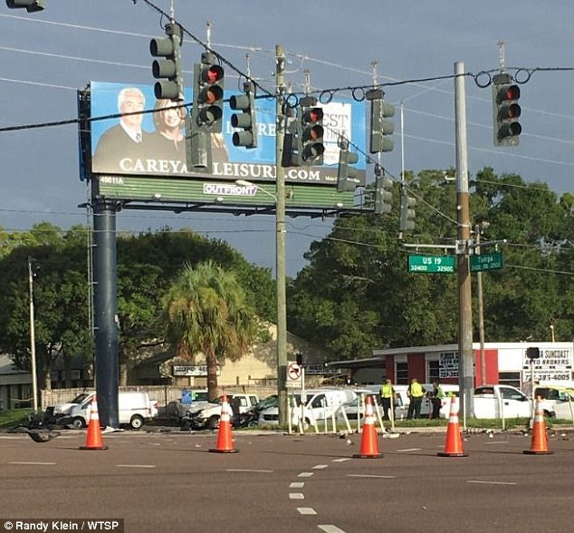 The crash happened at the intersection of US 19 and Tampa Road (pictured) when the Explorer ran a red light