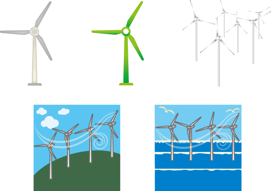 フリーイラスト 風力発電機のセットでアハ体験 Gahag 著作権フリー
