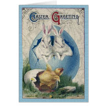 Vintage Easter White Rabbits and Chick Card