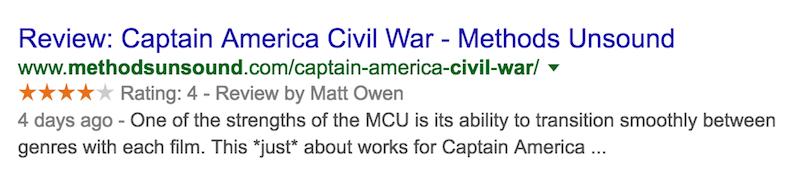 captain america civil war review rich snippet