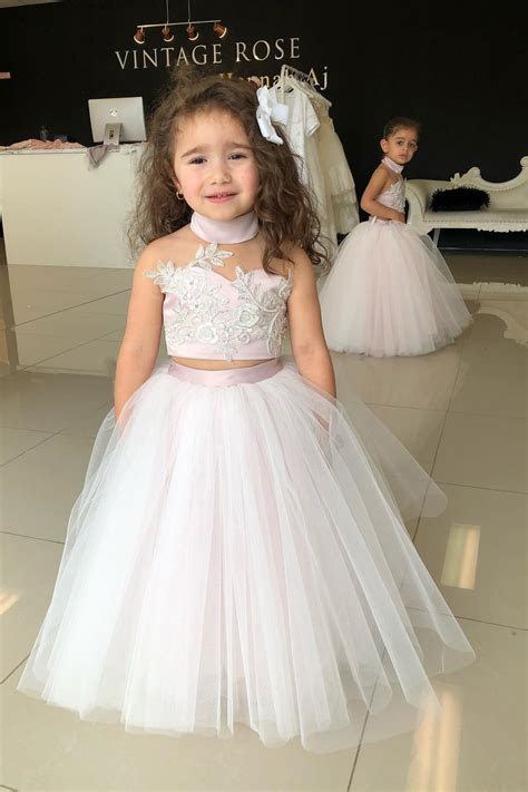 Two Piece High Neck Pink Long Flower Girl Dress