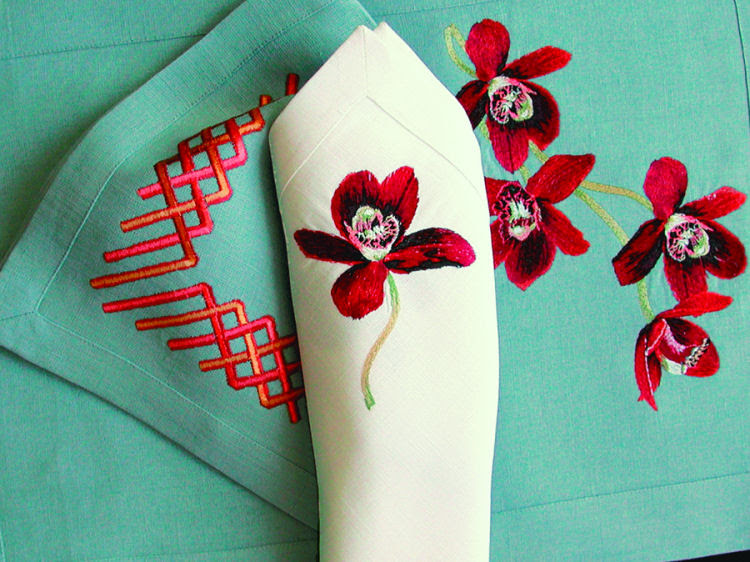 Anali Embroidered Table Linens . Red Orchid . Decorative Napkins
