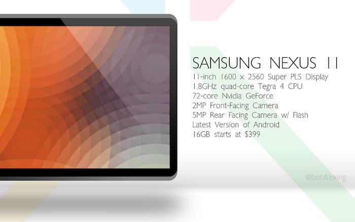 Un concept de design et spécifications pour la tablette Samsung Nexus 11