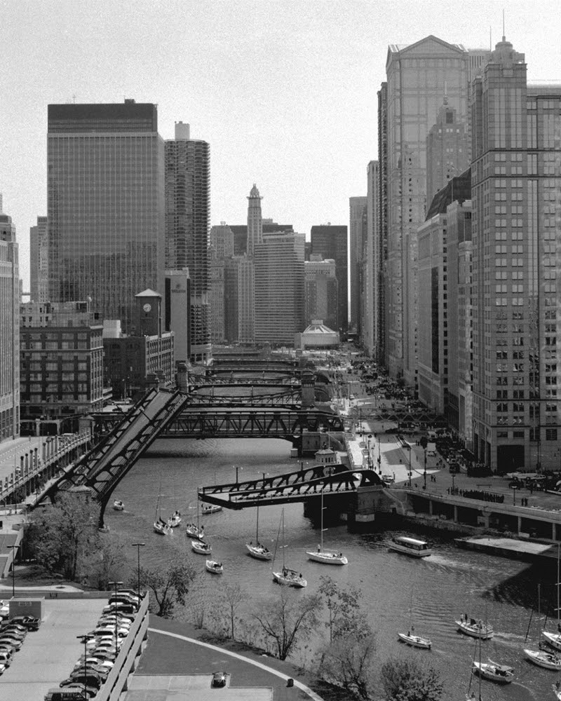 View Of River Bridges Chicago Loop Framed Photo