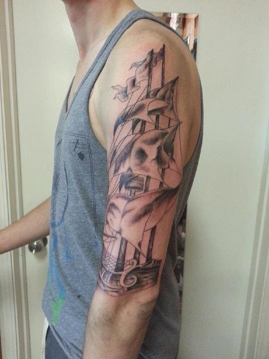 Start Of My Pirate Sleeve Done By Justin Sawyer Of Speakeasy