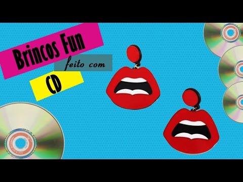 DIY Brinco Fun de Boca Feito com CD | Brinco das Gringas