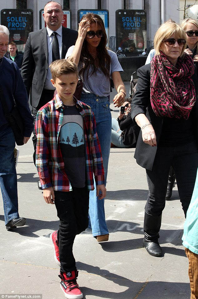 Fashion-conscious: The Beckham boys looked as well turned out as usual for the daytime jaunt, taking after their stylish parents