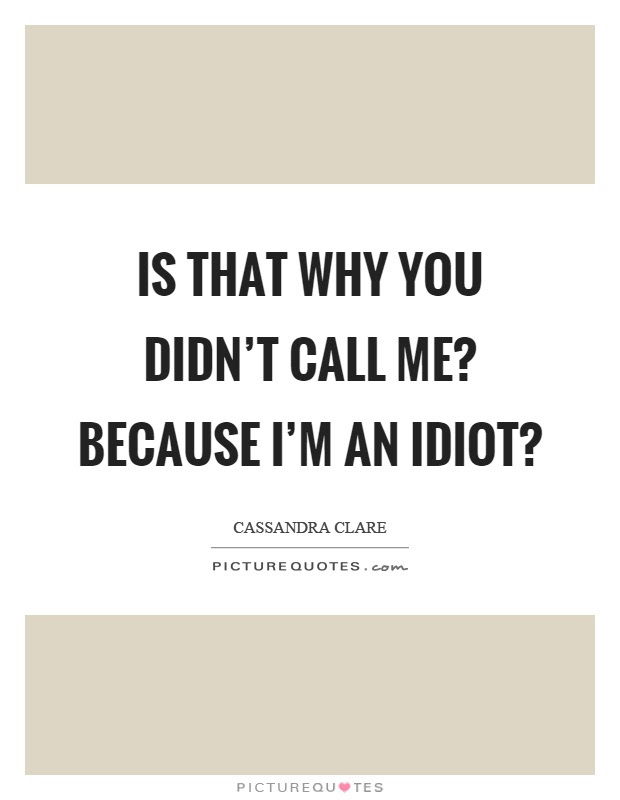 Is That Why You Didnt Call Me Because Im An Idiot Picture Quotes