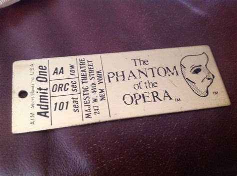Details about Vintage Phantom Of The Opera Brass Ticket