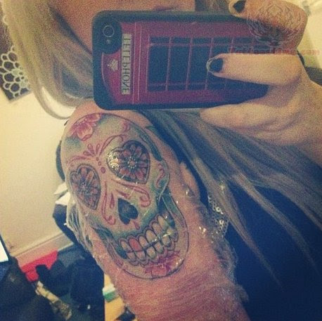 Half Sleeve Sugar Skull Tattoo On Girl Shoulder