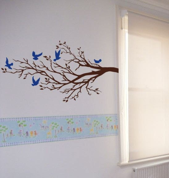 Wall Art Vinyl Decal FIVE BIRDS And BRANCHTree Wall by EllyStudio