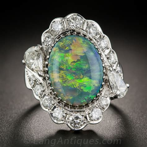 Black Opal, Platinum and Diamond Ring