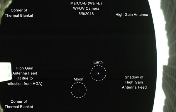 An annotated image of Earth and the Moon as seen by WALL-E from 621,371 miles (1 million kilometers) away...on May 9, 2018.